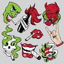 Vector Fashion Patch Badges Set With Lips, Skull With Roll-up, Rock Hand, Face And Devil. Patches, Pins, Stickers Made In Hand Drawn Cartoon Style. Weed Stickers Collection.