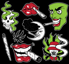 Vector Fashion Patch Badges Set With Lips, Skull, Roll-up, Face And Marijuana. Patches, Pins, Stickers Made In Hand Drawn Cartoon Style. Weed Stickers Collection.