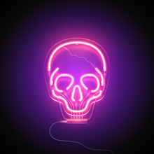 Neon Sign. Retro Neon Skull Signboard On Purple Background. Design Element. Ready For Your Design. Vector Illustration.