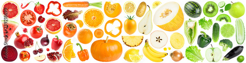 Poster Légumes frais Collection of color fruits and vegetables on white