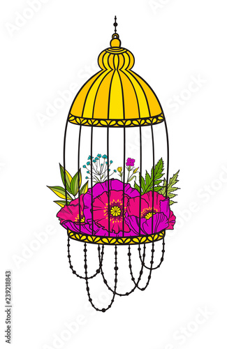 Fotografia  Bird cage with bloom poppies.