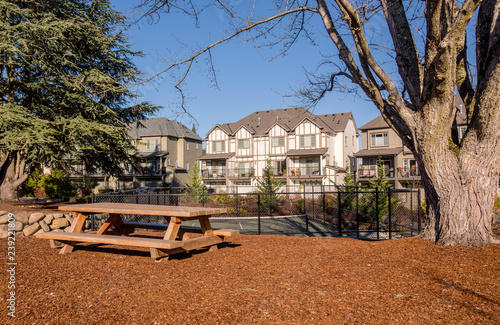 Fotografering Row of townhouses and park in Wilsonville Oregon.
