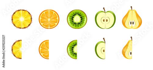 Photo vector set of peice tropical fruit half a fruit whole kiwi