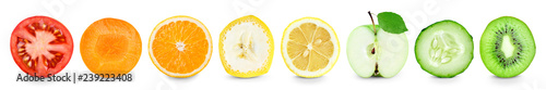 Fotomural Collection of fruit and vegetable slices on white