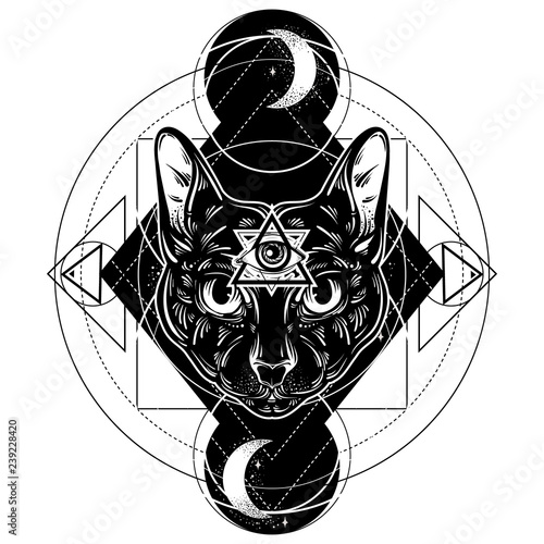 3e446b3af938a Vector hand drawn ilustration of cat. All seeing eye pyramid symbol. Artwork  with portrait of mystical elegant cat. Template for card, poster, banner,  ...