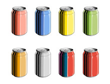 Set Of Aluminum Can In Color, ...