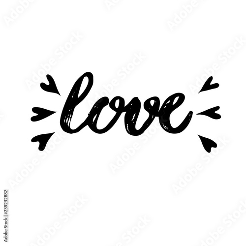 Fototapety, obrazy: Hand lettering for Valentine's Day. Love word hand lettering. Vector illustration on white background.