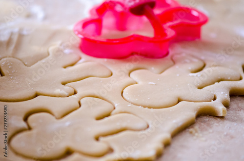 Fotografie, Obraz  Abstract selective focus macro view of sugar cookie Christmas dough cut out with