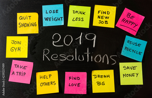 Deurstickers Ontspanning 2019 Goals or New Year resolutions chalk handwriting and colorful post its memo notes on blackboard