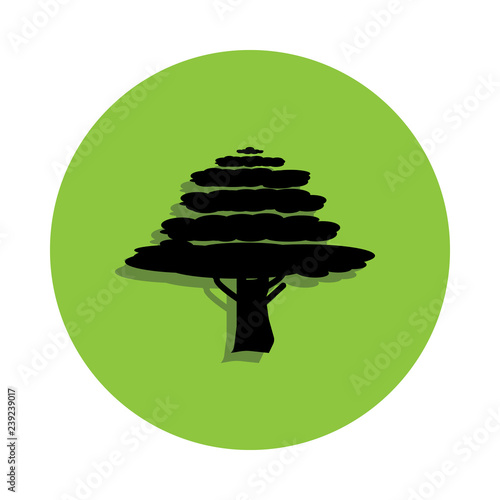 Cypress tree in green badge icon