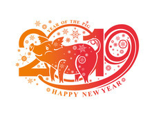 Year Of The Pig. 2019. New Year Pattern 2019 And Smiling Cute Pig And Snowflakes. Vector Template New Year's Design On The Chinese Calendar.