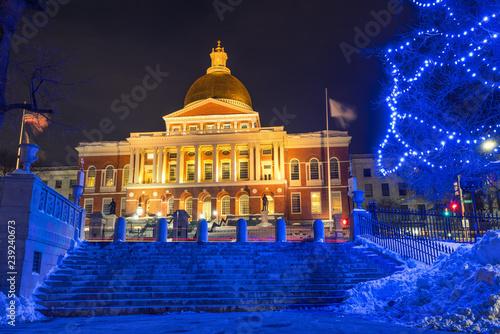 Foto op Canvas Amerikaanse Plekken Boston state house illuminated at Christmas time