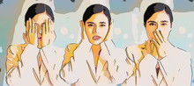 Woman Covering Eyes, Ears And Mouth With Hands As Looking Like The Three Wise Monkeys. Don't See, Don't Hear And Don't Speak Concept, Digital Art Style, Illustration Painting.