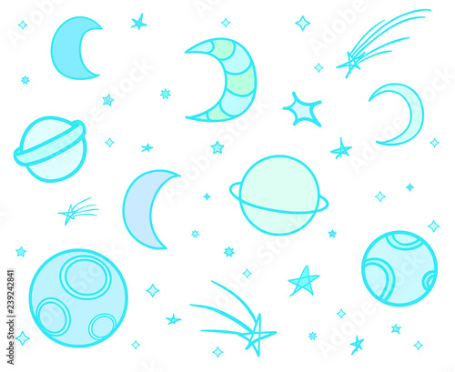 Cosmos elements on white background Wallpaper Mural