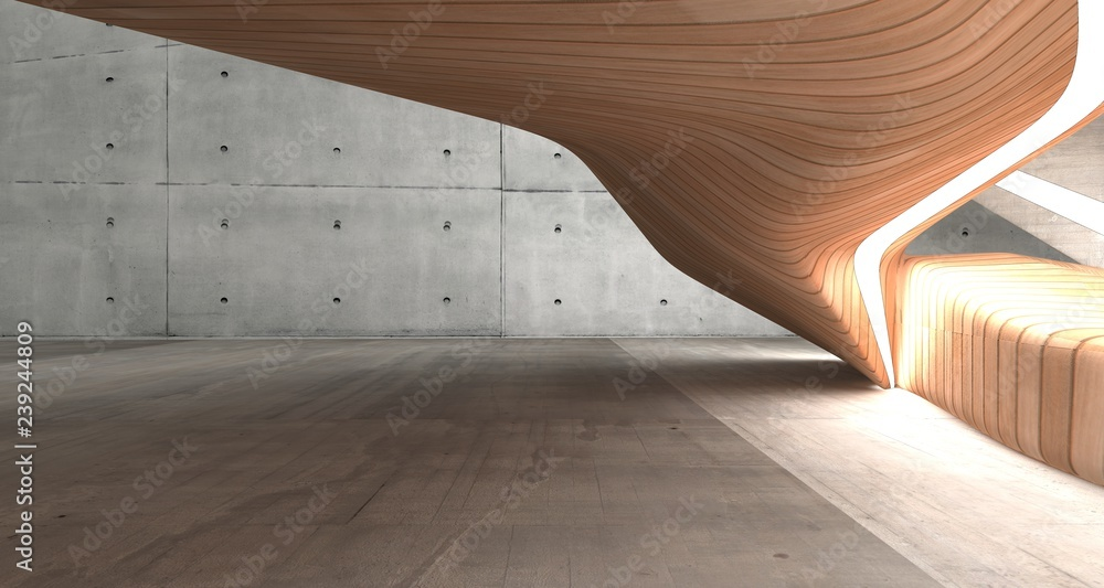 Fototapeta Empty dark abstract concrete and wood smooth interior. Architectural background. 3D illustration and rendering