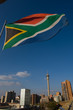 canvas print picture - South African flag in Johannesburg, South Africa