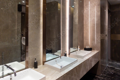 Row Of Modern Marble Ceramic Wash Basin In Public Toilet Restroom In Restaurant Or Hotel Or Shopping Mall Interior Decoration Design Buy This Stock Photo And Explore Similar Images At Adobe