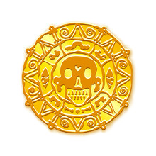 Gold Medallion Of Pirates Of The Caribbean Sea.