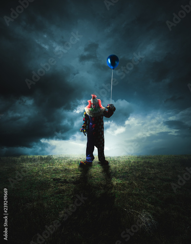 Scary clown on a dark background Canvas Print