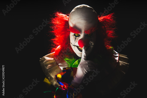 Fotografía Scary clown on a dark background