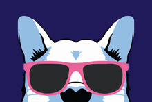 Nice Isolated Dog Animal In Pink Glasses On Purple Background Vector Illustration