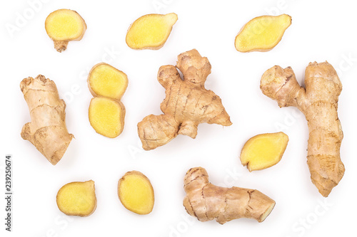Obraz na plátně fresh Ginger root and slice isolated on white background