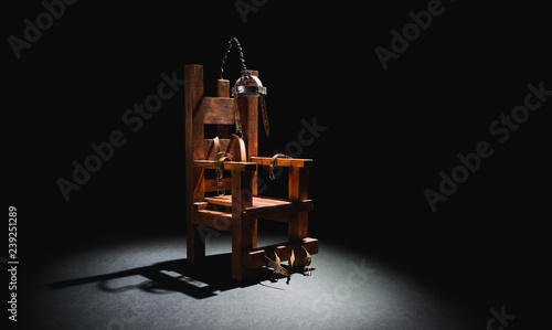 Fotografia, Obraz  Electric chair in a dark background