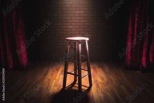 Fotografia wood stool on a stage