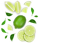 Sliced Lime Vith Leaves Isolat...