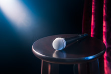 Microphone On A Wooden Stool O...
