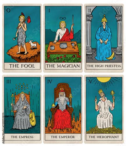 Stampa su Tela Vintage tarot deck, old style illustrations