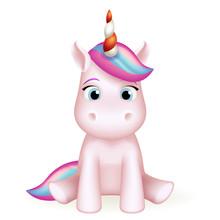 Cartoon Unicorn 3d Cute Toy Character Design Vector Illustration
