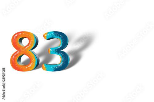 Papel de parede  3D Number 83 eighty three lively colours