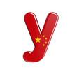 China flag letter Y - Small 3d chinese font - China, Beijing or Asia concept