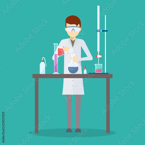 Valokuvatapetti Vector design of scientist in his chemistry lab.