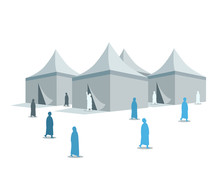 Hajj Pilgrimage Silhouette Around Mina Tents