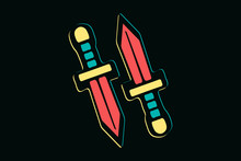 Two Isolated Hand Drawn Colorful Swords On Dark Background, T-shirt Design Elements