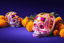 Sugar Skulls In A Purple Backg...