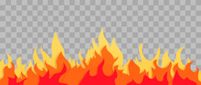 Cartoon Fire Flame Frame. Orange Fire Border On Transparent Background