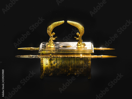 Photo Ark of the covenant on a dark background / 3D illustration