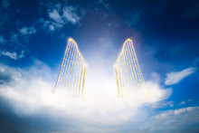 Gold Heavens Gate In The Sky / 3D Illustration