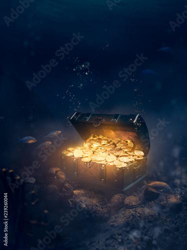 Fotografía Sunken treasure at the bottom of the sea