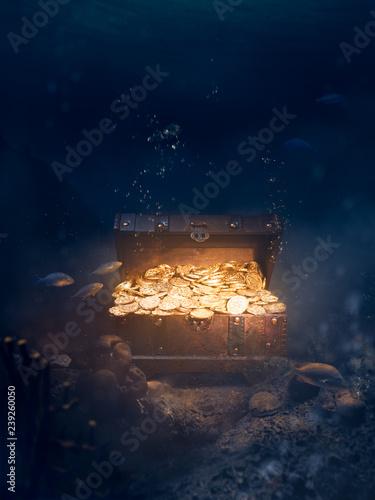 Fotomural Sunken treasure at the bottom of the sea