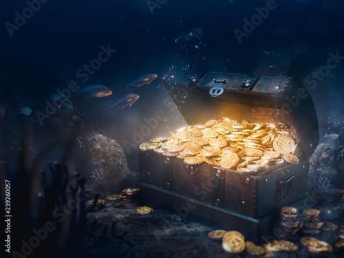 Fotografie, Obraz Sunken treasure at the bottom of the sea