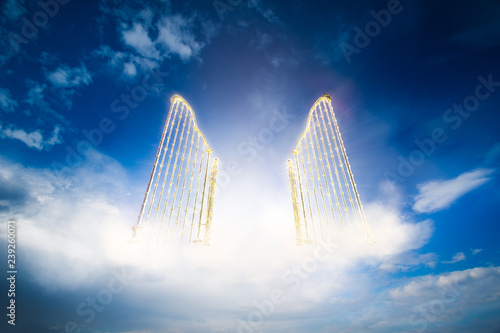 Fotomural gold heavens gate in the sky / 3D illustration