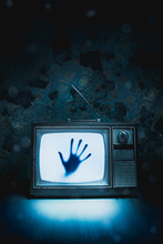 Retro Television With White Noise And A Hand Inside/ High Contrast Image