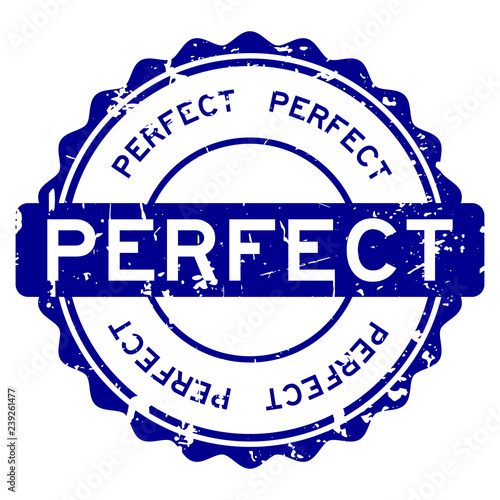 Valokuvatapetti Grunge blue perfect wording round rubber seal stamp on white background