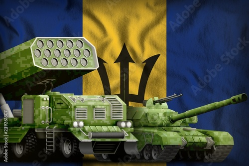 Poster Militaire Barbados heavy military armored vehicles concept on the national flag background. 3d Illustration