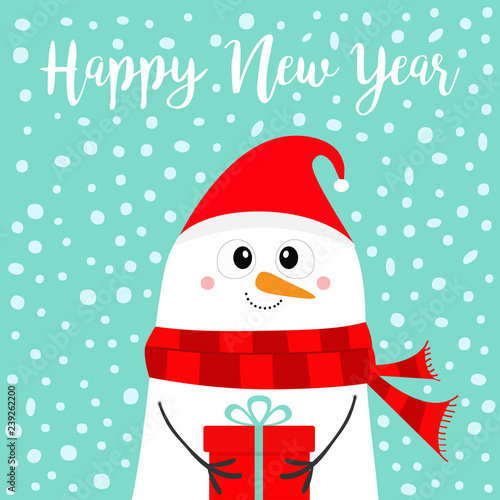 5a88234e478a8 Happy New Year. Snowman holding gift box present. Carrot nose