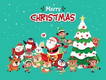 Vintage Christmas Poster Design With Vector Penguin, Snowman, Santa Claus, Elf, Reindeer, Raccoon, Fox, Rabbit, Owl, Bear Characters.